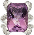 Estate Jewelry:Rings, Amethyst, Diamond, White Gold Ring. ...