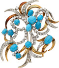 Estate Jewelry:Brooches - Pins, Diamond, Turquoise, Gold Clip-Brooch. ...