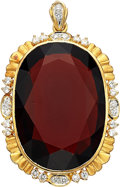 Estate Jewelry:Pendants and Lockets, Garnet, Diamond, Gold Pendant. ...
