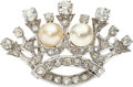 Estate Jewelry:Brooches - Pins, Mabe Pearl, Diamond, White Gold Brooch. ...
