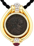 Estate Jewelry:Pendants and Lockets, Ancient Coin, Diamond, Ruby, Gold Pendant. ...