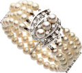 Estate Jewelry:Bracelets, Cultured Pearl, Diamond, White Gold Bracelet. ...