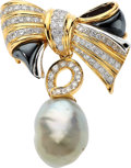 Estate Jewelry:Brooches - Pins, Diamond, Freshwater Cultured Pearl, Gold Brooch, Kai-Yin Lo. ...