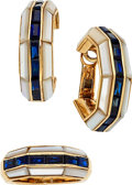 Estate Jewelry:Suites, Sapphire, Mother-of-Pearl, Gold Jewelry Suite, Poiray, French. ...(Total: 3 Items)