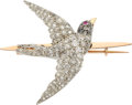 Estate Jewelry:Brooches - Pins, Victorian Diamond, Ruby, Platinum, Gold Brooch. ...