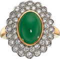 Estate Jewelry:Rings, Jadeite Jade, Diamond, Platinum-Topped Gold Ring, Gumps. ...