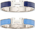 Luxury Accessories:Accessories, Hermes Set of Two; Blue Paradis & Indigo Enamel NarrowClic-Clac PM Bracelets with Palladium Hardware. Excellent toPristi... (Total: 2 )