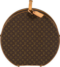 "Louis Vuitton Classic Monogram Canvas Hat Box Very Good Condition 20"" Width x 19"" Height x 7.5"" D"