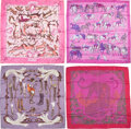 "Luxury Accessories:Accessories, Hermes Set of Four; 90cm Pink & Purple Silk Scarves. VeryGood to Excellent Condition. 36"" Width x 36"" Length.36""... (Total: 4 Items)"