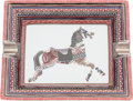 "Luxury Accessories:Home, Hermes Red & Black Equestrian Limoges Porcelain Ashtray.Pristine Condition. 8"" Width x 1.5"" Height x 6"" Depth. ..."