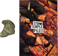 Music Memorabilia:Autographs and Signed Items, Stone Temple Pilots Signed Hat with Poster (1992).... (Total: 2Items)