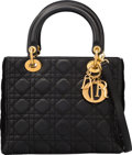 "Luxury Accessories:Bags, Christian Dior Black Cannage Quilted Lambskin Leather Lady DiorBag. Very Good to Excellent Condition. 9.5"" Width x8""..."