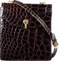 "Luxury Accessories:Bags, Gucci Shiny Brown Crocodile Shoulder Bag. Good Condition.8"" Width x 9"" Height x 1"" Depth. ..."