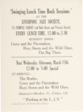 Music Memorabilia:Posters, Beatles Liverpool Jazz Society Handbill (March 15, 1961) from theCollection of Cavern Club Compere Bob Wooler....
