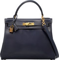 """Luxury Accessories:Bags, Hermes 28cm Blue Marine Calf Box Leather Retourne Kelly Bag withGold Hardware. E, 1950. Good Condition. 11""""Width..."""