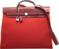 Luxury Accessories:Bags, Hermes 39cm Rouge H Vache Hunter Leather & Cuivre ToileOfficier Canvas Herbag Zip Bag with Palladium Hardware. T,2015...