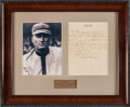 Baseball Collectibles:Others, Circa 1940 Walter Johnson Handwritten Signed Letter withSpectacular Content....