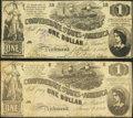 Confederate Notes:1862 Issues, T44 $1 1862 PF-3 Cr. 341 Two Examples.. ... (Total: 2 notes)