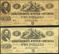 Confederate Notes:1862 Issues, T42 $2 1862 PF-1 Cr. 334;. T42 $2 1862 PF-5 Cr. 337.. ... (Total: 2notes)