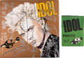 Music Memorabilia:Autographs and Signed Items, Billy Idol Signed Whiplash Smile LP Cover with Photo Pass(Chrysalis, 1986)....