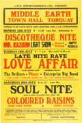 Music Memorabilia:Posters, Love Affair/The Drifters Middle Earth Town Hall Concert Poster(1968)....