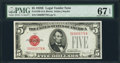 Small Size:Legal Tender Notes, Fr. 1530 $5 1928E Legal Tender Note. PMG Superb Gem Unc 67 EPQ.. ...