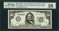 Fr. 2101-B $50 1928A Federal Reserve Note. PMG Choice About Unc 58