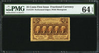Fr. 1279 25¢ First Issue PMG Choice Uncirculated 64 EPQ