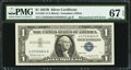 Error Notes:Mismatched Serial Numbers, Fr. 1621 $1 1957B Silver Certificate. PMG Superb Gem Unc 67 EPQ.. ...