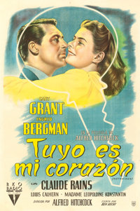 """Notorious (RKO, 1946). Argentinean Poster (28.5"""" X 43"""")"""