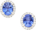 Estate Jewelry:Earrings, Ceylon Sapphire, Diamond, White Gold Earrings. ...