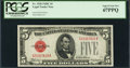 Fr. 1528 $5 1928C Legal Tender Note. PCGS Superb Gem New 67PPQ