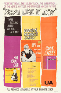 "Some Like It Hot (United Artists, 1959). Soundtrack One Sheet (27"" X 41"")"