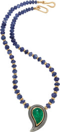 Estate Jewelry:Necklaces, Sapphire, Emerald, Gold Necklace, Poiray, French. ...
