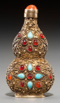 Asian:Chinese, A Chinese Gilt Metal Double Gourd Snuff Bottle with Filigree andMounted Hardstones. 3-1/8 inches high (7.9 cm). ...