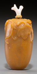 Other, A Chinese Carved Hardstone Melon-Form Snuff Bottle. 2-7/8 inches high (7.3 cm). ...
