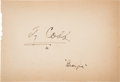 """Baseball Collectibles:Others, 1930's Ty Cobb Signed Sheet, With """"Georgia"""" Inscription...."""