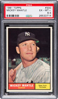 Baseball Cards:Singles (1960-1969), 1961 Topps Mickey Mantle #300 PSA EX-MT+ 6.5....