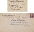Baseball Collectibles:Others, 1936 Honus Wagner Signed Business Card & Envelope....