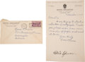 Baseball Collectibles:Others, 1935 Tris Speaker Signed Sheet....