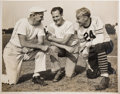 Football Collectibles:Photos, 1930's George Halas, Red Grange and Luke Johnsos Multi-SignedOversized Photograph....
