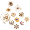 Estate Jewelry:Brooches - Pins, Diamond, Multi-Stone, Seed Pearl, Glass, Gold Brooches. . ...(Total: 11 Items)