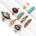 Estate Jewelry:Rings, Victorian Diamond, Multi-Stone, Seed Pearl, Gold Rings. ... (Total:9 Items)