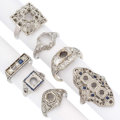 Estate Jewelry:Rings, Art Deco Diamond, Synthetic Sapphire, Platinum, White GoldSemi-Mounts. . ... (Total: 7 Items)