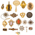Estate Jewelry:Brooches - Pins, Victorian Multi-Stone, Half-Pearl, Seed Pearl, Enamel, Glass, Gold,Vermeil, Base Metal Jewelry. ... (Total: 20 Items)