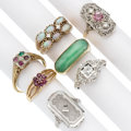 Estate Jewelry:Rings, Diamond, Multi-Stone, White Gold Rings. . ... (Total: 7 Items)