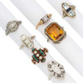 Estate Jewelry:Rings, Diamond, Multi-Stone, Seed Pearl, Gold Rings. ... (Total: 7 Items)
