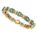 Estate Jewelry:Bracelets, Emerald, Diamond, Gold Bracelet . . ...