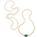 Estate Jewelry:Necklaces, Jade, Cultured Pearl, Gold Necklaces. . ... (Total: 2 Items)