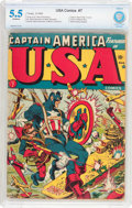 Golden Age (1938-1955):Superhero, USA Comics #7 (Timely, 1943) CBCS FN- 5.5 Off-white pages....